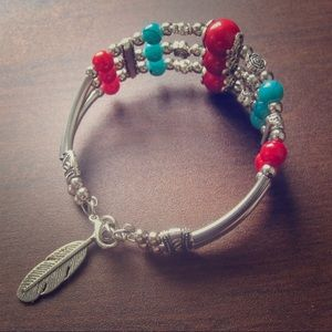 Blue Turquoise Red Agate Silver Bracelet cuff